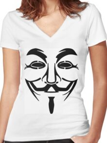 Anonymous Mask Silhouette Women's Fitted V-Neck T-Shirt