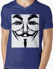Anonymous Mask Silhouette Mens V-Neck T-Shirt