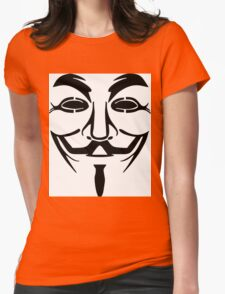 Anonymous Mask Silhouette Womens Fitted T-Shirt
