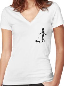 Flaunting The Pooch (blush) - Dachshund Sausage Dog Women's Fitted V-Neck T-Shirt