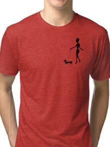Flaunting The Pooch (blush) - Dachshund Sausage Dog Tri-blend T-Shirt