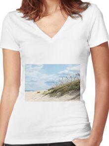 Beach Grass on Dunes Women's Fitted V-Neck T-Shirt