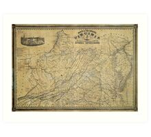 Map of the State of Virginia by West & Johnson (1864) Art Print