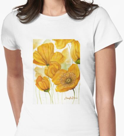 Yellow Poppies Womens Fitted T-Shirt