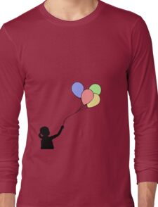 Balloon Girl - Black Fill Long Sleeve T-Shirt