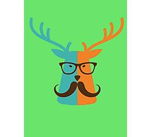 Cute Deer Hipster Animal With Glasses Mustache Photographic Print