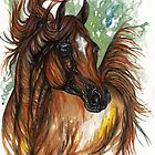 the chestnut arabian horse painting by tarantella