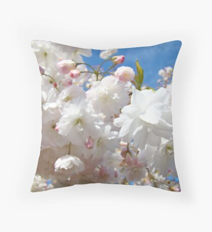 Elegant Pink Fluffy Sunlit Spring Tree Blossoms Flowers Baslee Troutman Throw Pillow