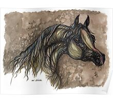 grey arabian horse painting Poster