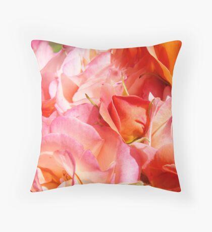 Rose Bouquet Orange Pink Roses Floral Gaden Baslee Troutman Throw Pillow