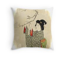 Japanese sakura tree Throw Pillow