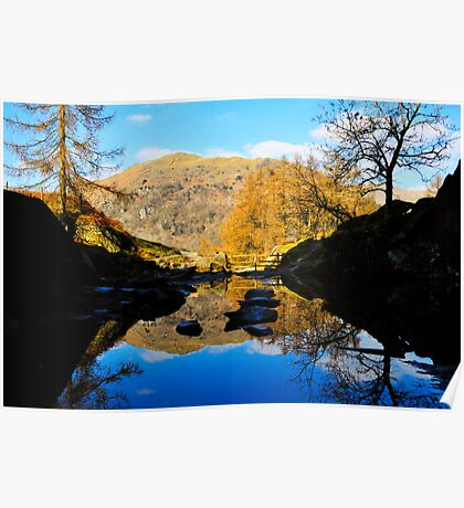 Reflections from the cave (Rydal water) Poster