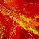 organic abstract in reds and yellow by Lynn Hughes
