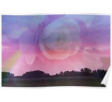 Flower Rays and Clouds Poster