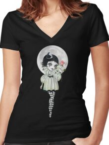 Pierrette Under the Icy Moon Women's Fitted V-Neck T-Shirt