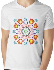 Ilamas y Cruces Azules Mens V-Neck T-Shirt