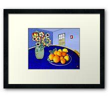 Oranges and Lemons in a Blue Bowl Framed Print