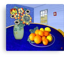 Oranges and Lemons in a Blue Bowl Canvas Print