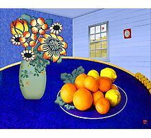 Oranges and Lemons in a Blue Bowl Photographic Print