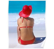 On Vacation-red bikini-Can Cun, Mexico Poster
