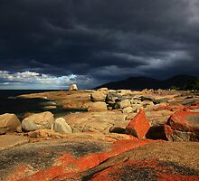 passing storm. bicheno, tasmania. by tim buckley | bodhiimages