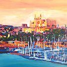 Spain Balearic Island Palma De Majorca With Harbour And Cathedral by artshop77