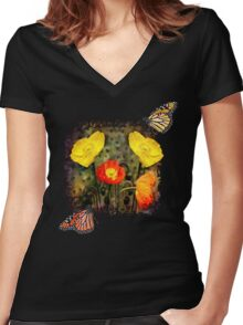 Yellow and Red Poppies Women's Fitted V-Neck T-Shirt