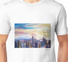 New York City Manhattan Panorama with WTC Chrysler Empire State Building Unisex T-Shirt
