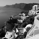 Santorini Cliffs ~ Black &amp; White by Lucinda Walter