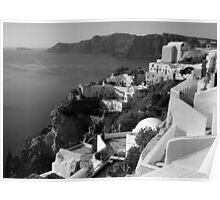 Santorini Cliffs ~ Black & White Poster