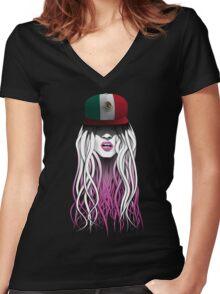 World Rebellion 2016 – MEXICO Women's Fitted V-Neck T-Shirt