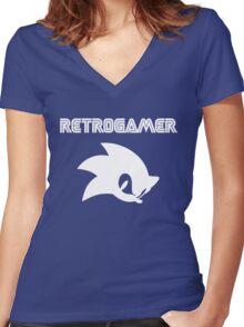 Retro gamer Sonic Shirt Women's Fitted V-Neck T-Shirt
