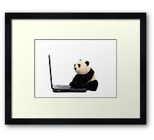 Panda and Laptop Framed Print