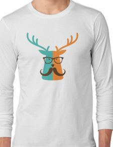 Cute Deer Hipster Animal With Glasses Mustache Long Sleeve T-Shirt