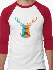 Cute Deer Hipster Animal With Glasses Mustache Men's Baseball ¾ T-Shirt