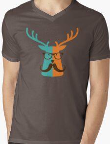 Cute Deer Hipster Animal With Glasses Mustache Mens V-Neck T-Shirt
