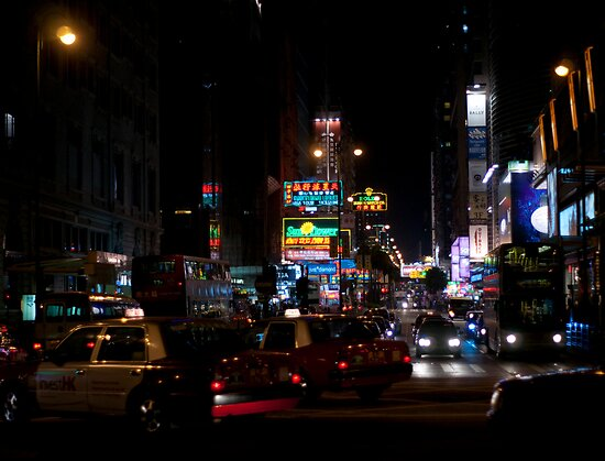 a view down Nathan Road by Rene Fuller