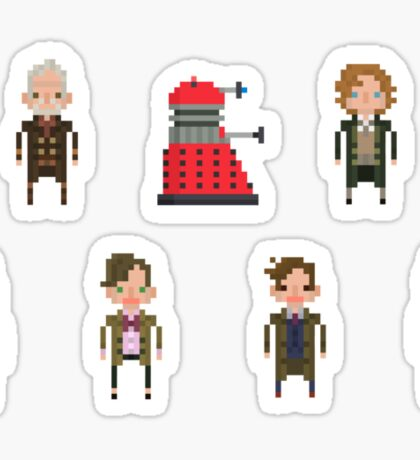 Pixel Doctor Who - Eighth Doctor to Twelfth Doctor + Dalek - Set of 7 Sticker