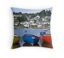 Boats at Noss Mayo Throw Pillow