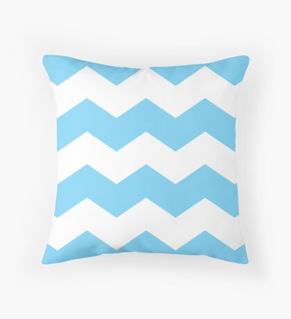 Blue and White Large Scale Chevron Print Throw Pillow