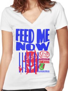 usa new york tshirt by rogers bros co Women's Fitted V-Neck T-Shirt