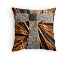 Lord's prayer cross with fireworks Throw Pillow