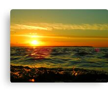 Water Droplet Sunset Canvas Print