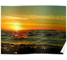 Water Droplet Sunset Poster
