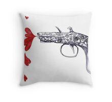 Antique rose_Love_gun Throw Pillow