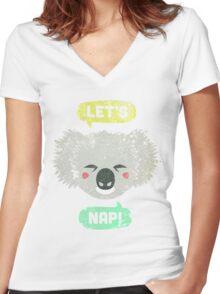 Sleepy Koala  Women's Fitted V-Neck T-Shirt