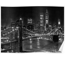 Brooklyn Bridge New York Pencil Drawing Poster