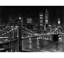 Brooklyn Bridge New York Pencil Drawing Photographic Print