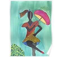 Frevo girl with pink umbrella Poster
