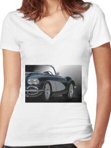 1958 Chevrolet Corvette 3Q 'Studio' Women's Fitted V-Neck T-Shirt
